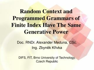 Random Context and Programmed Grammars of Finite Index Have The Same Generative Power