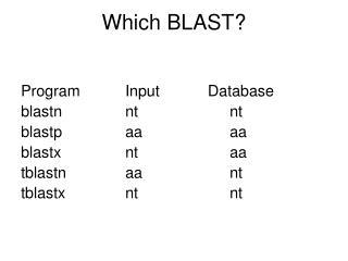 Which BLAST?