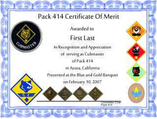 Pack 414 Certificate Of Merit