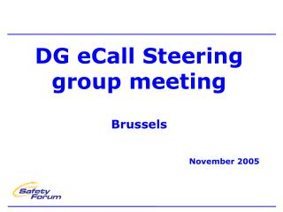 DG eCall Steering group meeting Brussels