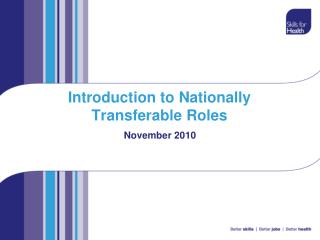 Introduction to Nationally Transferable Roles