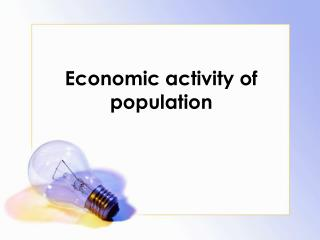 Economic activity of population