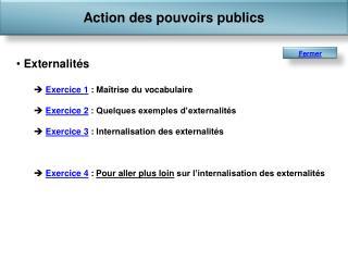 Externalités Exercice 1  : Maîtrise du vocabulaire Exercice 2  : Quelques exemples d'externalités