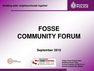 Building safer neighbourhoods together