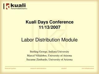 Kuali Days Conference 11/13/2007
