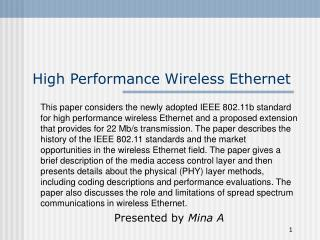 High Performance Wireless Ethernet