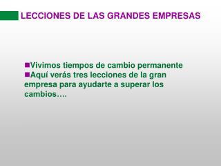 LECCIONES DE LAS GRANDES EMPRESAS