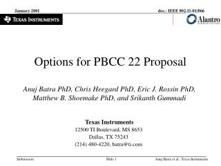 Options for PBCC 22 Proposal