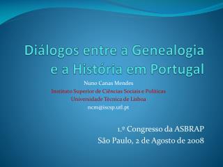 Diálogos entre a Genealogia e a História em Portugal