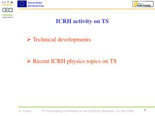 Technical developments  Recent ICRH physics topics on TS