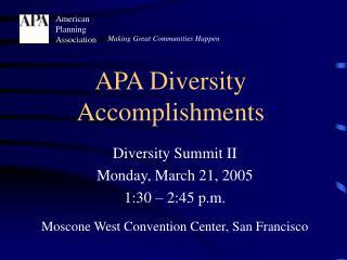 APA Diversity Accomplishments