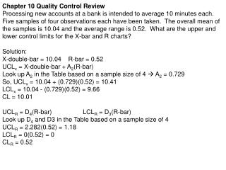 Chapter 10 Quality Control Review