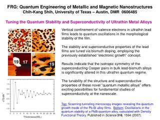 FRG: Quantum Engineering of Metallic and Magnetic Nanostructures