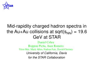 Mid-rapidity charged hadron spectra in the Au+Au collisions at sqrt(s NN ) = 19.6 GeV at STAR