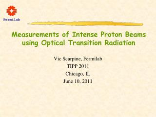 Measurements of Intense Proton Beams using Optical Transition Radiation