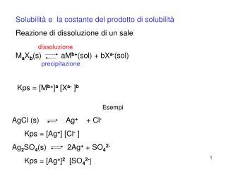Solubilità e  la costante del prodotto di solubilità Reazione di dissoluzione di un sale