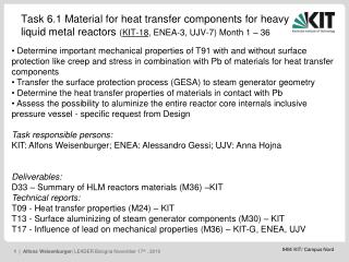 Task 6.1 Material for heat transfer components for heavy liquid metal reactors – KIT contribution
