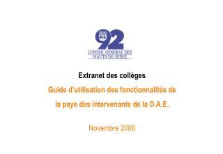 Extranet des collèges Guide d'utilisation des fonctionnalités de