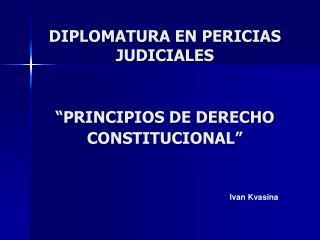 """DIPLOMATURA EN PERICIAS JUDICIALES """"PRINCIPIOS DE DERECHO CONSTITUCIONAL"""""""