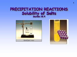 PRECIPITATION REACTIONS Solubility of Salts Section 18.4