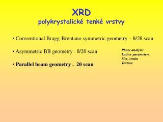 XRD polykrystalické tenké vrstvy