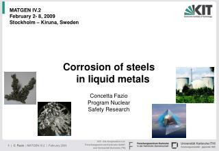 Corrosion of steels  in liquid metals