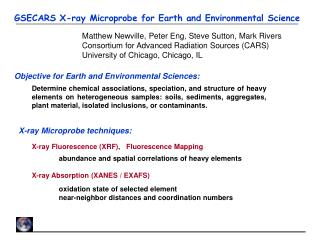 GSECARS X-ray Microprobe for Earth and Environmental Science