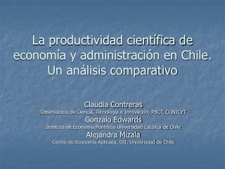 La productividad científica de  economía y administración en Chile.  Un análisis comparativo