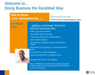 Welcome to… Doing Business the Randstad Way