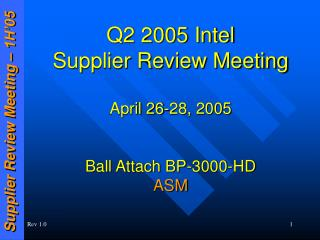 Q2 2005 Intel Supplier Review Meeting April 26-28, 2005 Ball Attach BP-3000-HD ASM