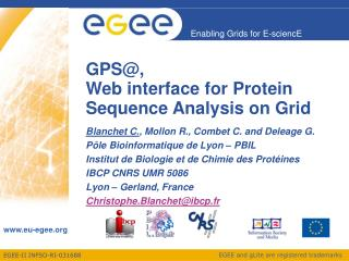 GPS@, Web interface for Protein Sequence Analysis on Grid