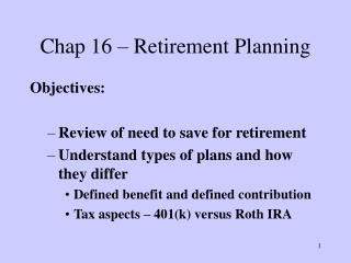 Chap 16 – Retirement Planning