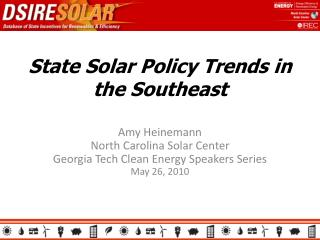 State Solar Policy Trends in the Southeast