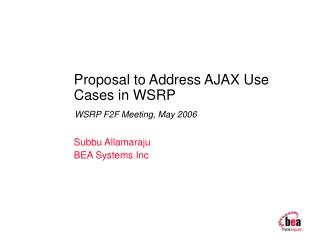 Proposal to Address AJAX Use Cases in WSRP