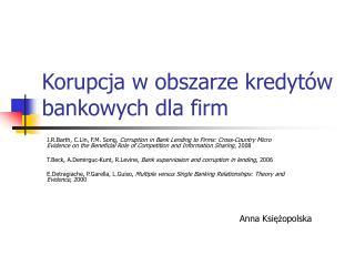 Korupcja w obszarze kredytów bankowych dla firm