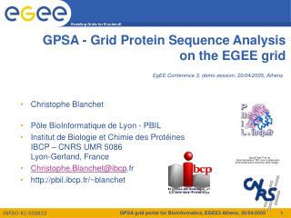 GPSA - Grid Protein Sequence Analysis on the EGEE grid