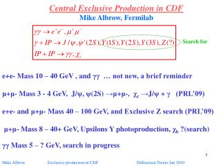 Central Exclusive Production in CDF Mike Albrow, Fermilab