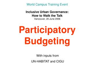 With inputs from UN-HABITAT and CIGU