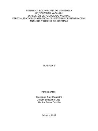 REPUBLICA BOLIVARIANA DE VENEZUELA UNIVERSIDAD YACAMBU DIRECCIÓN DE POSTGRADO VISTUAL
