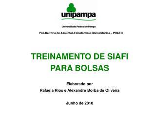 TREINAMENTO DE SIAFI PARA BOLSAS Elaborado por  Rafaela Rios e Alexandre Borba de Oliveira
