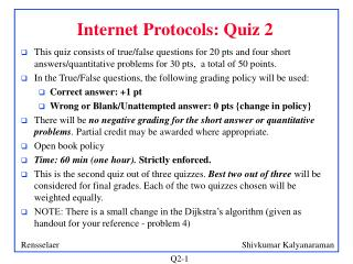 Internet Protocols: Quiz 2