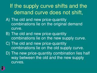 If the supply curve shifts and the demand curve does not shift,