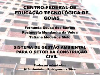 CENTRO FEDERAL DE EDUCAÇÃO TECNOLÓGICA DE GOIÁS  Fernanda Sousa dos Santos