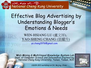 Effective Blog Advertising by Understanding Blogger s Emotions  Needs