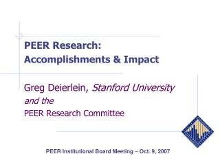 PEER Institutional Board Meeting – Oct. 9, 2007