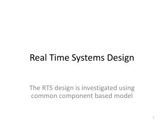 Real Time Systems Design