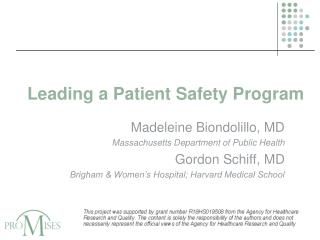 Leading a Patient Safety Program