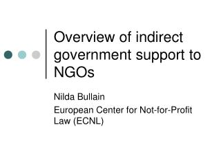 Overview of indirect government support to NGOs