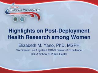 Highlights on Post-Deployment Health Research among Women
