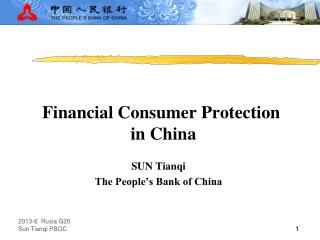Financial Consumer Protection  in China